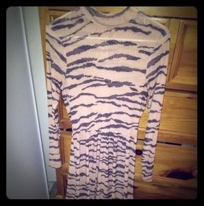 High Neck sheer long sleeve Dress